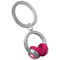 Llavero metal auriculares rosa